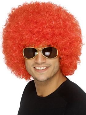 Unisex 1970s Funky Afro Crazy Clown Wig - Red